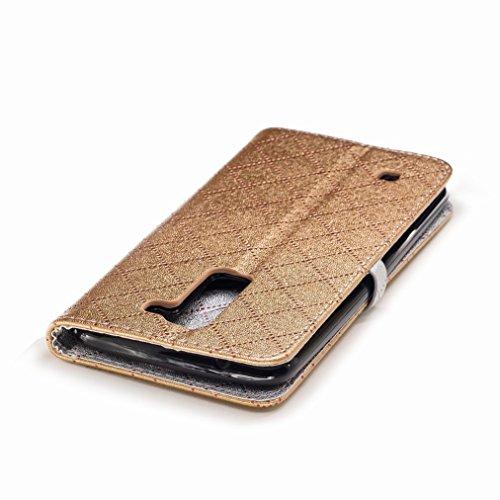Yiizy LG K8 / LG Phoenix 2 / K350N Custodia Cover, Amare Design Sottile Flip Portafoglio PU Pelle Cuoio Copertura Shell Case Slot Schede Cavalletto Stile Libro Bumper Protettivo Borsa (Dorato)