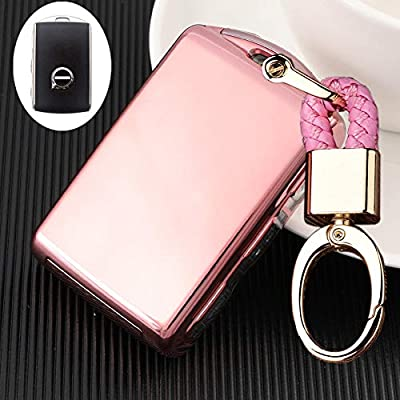 Royalfox(TM) Side Buttons Soft TPU Full Protection keyless Remote Smart Key Fob case Cover Keychain for 2020 2020 2020 2020 Volvo XC60 XC90 S90 V90 XC40 Side Buttons fob (Pink)