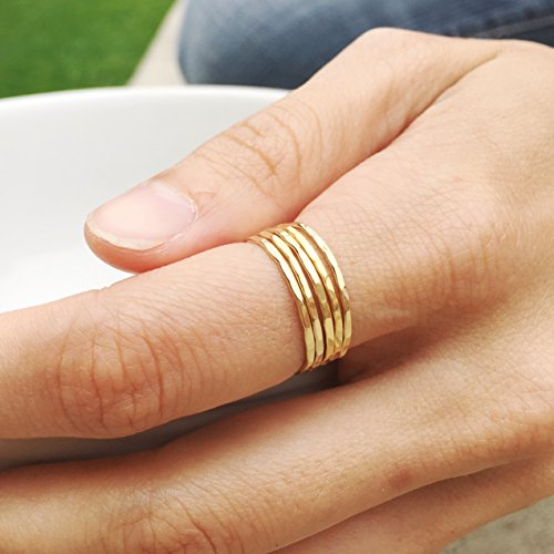 Individual Stacking Ring 14k Gold Filled, Dainty Little Plain Band, Size 8 ()