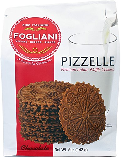Chocolate Italian Cookies - Fogliani Chocolate Pizzelle Waffle Cookies (Pack of 1)