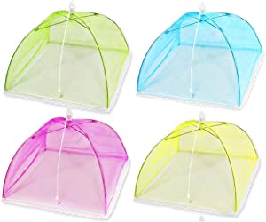 (4 Pack) Pop-Up Mesh Food Cover Tent Umbrella 17 Inch, Reusable and Collapsible Outdoor Picnic Net Screen Food protector Mesh Keep Out Flies, Bugs, Mosquitoes