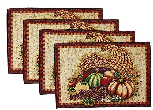 - HomeCrate Fall Harvest Collection, Tapestry Cornucopia with Pumpkins and Fruits Design Set of 4 Placemats, 13