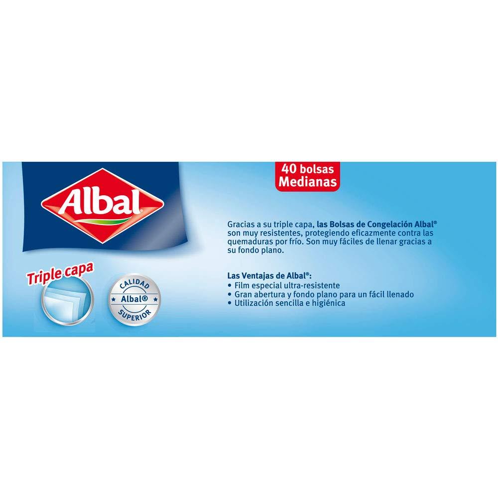 Albal Bolsas de congelación, cierre con alambre de precinto tamaño pequeño (1L), 40 unidades