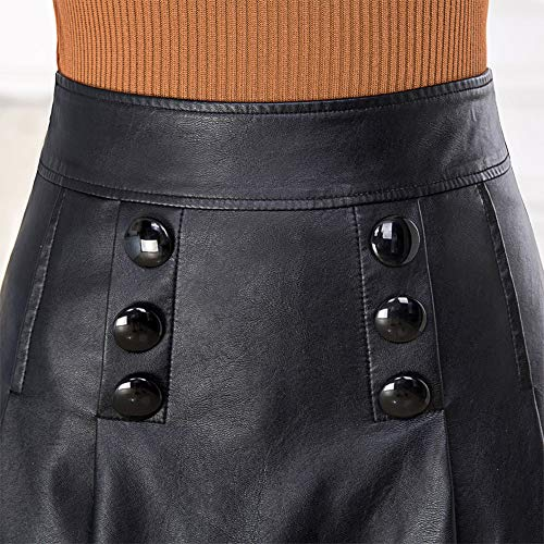 Mini Cuir Grande Club Girl E Noir Ajoure FS9816 PU Taille Jupe YqIWH8