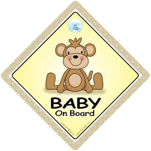 Baby On Board Car Sign, Baby On Board Sign, Brown Monkey, Baby on Board, Grandchild On Board, Baby Sign, Unisex Baby On Board, Decal, Bumper Sticker, Baby Car Signs iwantthatsign.com