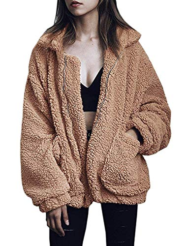 GETUPP Womens Fashion Long Sleeve Lapel Zip Up Faux Shearling Shaggy Oversized Coat Jacket with Pockets Warm Winter (Camel,M)