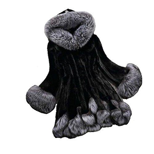 Piel Negro Chaqueta Abrigo HerZii Mujer Sintética Invierno para Mullido de Chaqueta vpnxgq