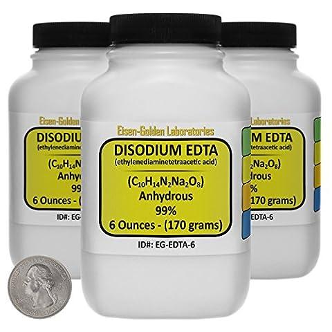 Disodium EDTA [C10H14N2Na2O8] 99% ACS Grade Powder 1 Lb in Three Space-Saver Bottles USA - Edta Disodium Salt
