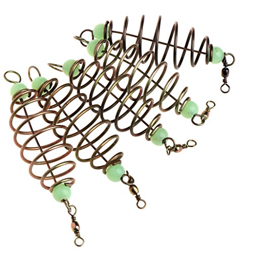 Beioust 5 Pcs/Set Fishing Bait Spring Lure Inline Hanging Tackle Stainless Steel Feeder