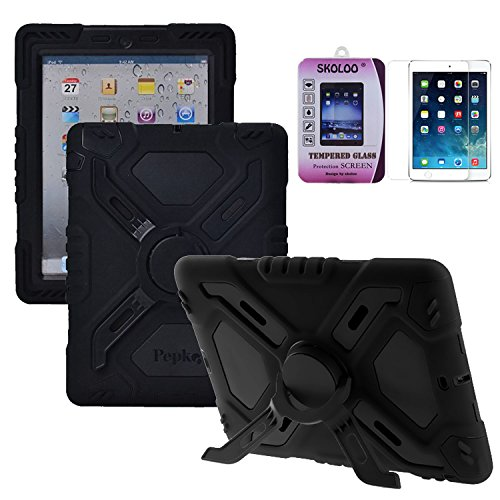 [iPad Mini Case, Skoloo Silicone Plastic Kid Proof Extreme Duty Dual Durable Stylish Great Value Protective Back Cover Case with Kickstand and Sticker + Skoloo 9H 0.32mm Tempered-Glass Screen Protector - Rainproof Sandproof Dust-proof Shockproof for iPad mini 3 2 & iPad Mini with Retina Display - SLC01 (All] (Master Chief Suit For Sale)