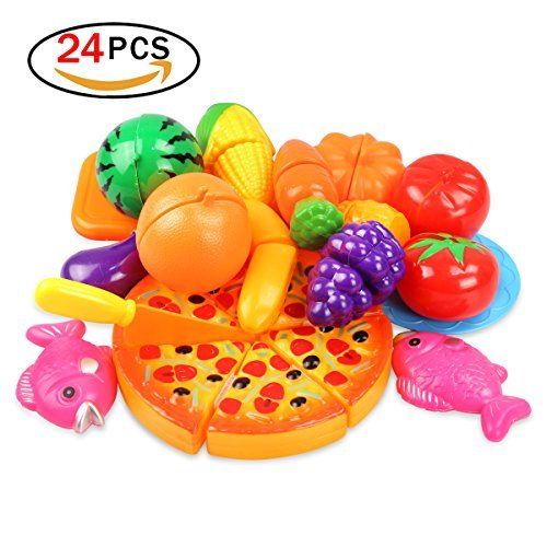Kitchen Toy Fruit Vegetables Cutting Pretend Play Kit For Kid Preschool Education (24 Sets)