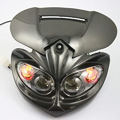 BADASS SHARKS Black Motorcycle Motorbike Headlight Racing Street Fighter Lamp Light Fairing