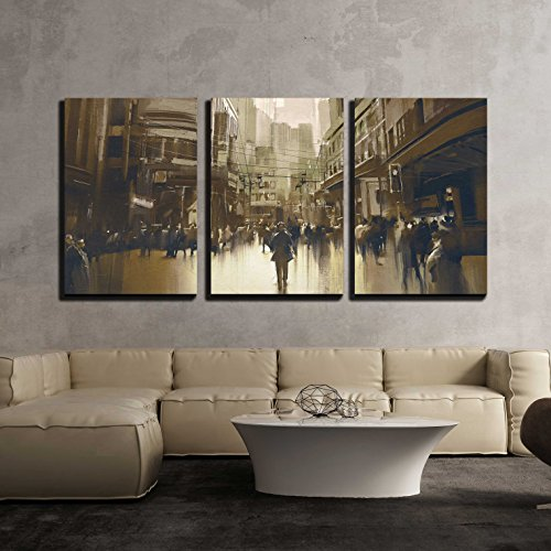 wall26 - 3 Piece Canvas Wall Art - People on Street in City,Cityscape Painting with Vintage Style - Modern Home Decor Stretched and Framed Ready to Hang - 24