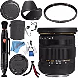 Sigma 17-50mm f/2.8 EX DC OS HSM Zoom Lens for Nikon w/APS-C Sensor #583306 + 77mm UV Filter + Lens Pen Cleaner + Fibercloth + Lens Capkeeper + Deluxe Cleaning Kit + Flexible Tripod Bundle