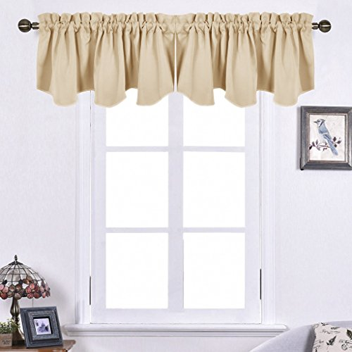nicetown living room blackout valances 52inch by 18inch scalloped rod pocket valance panels warm beige one pair - Valances For Living Room