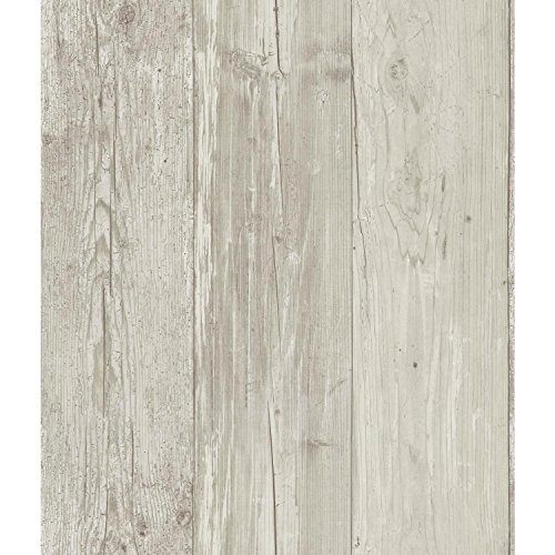 York Wallcoverings Wide Wooden Planks Removable Wallpaper, Gray/Black/Off White