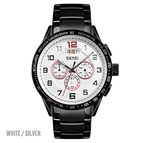 LGPNB Men's Business Watch, Fashion, Quartz Watch Creative, Multi-Function, Seconds, Calendar, zinc Alloy, Stainless Steel Strap Men's Watch, Gift-4