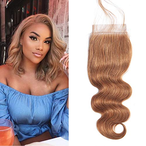 Valentines Day Gifts Aigemei Peruvian Virgin Hair 130% Density Body Wave Honey Blonde 4x4 Free Part Lace Closure With Baby Hair(12 Inch,Honey Blonde Color 27)