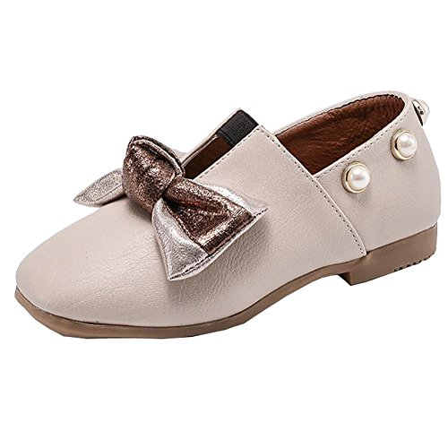 BININBOX Kids Bowknot Girls Dress Shoes Pearl Flat Girls Shoes Princess (10.5 M US Little Kid, Beige) by BININBOX