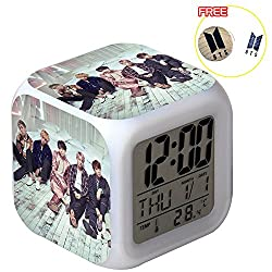 Bosunshine BTS Wake Up Alarm Clock, Digital LED Clock with 7 Color Change& 8 Ringtones With Temperature and Touch Control Sleep and Snooze Function for Bedrooms, Wooden Stamp Free(A0007)