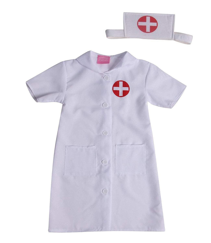 女の子用 ホワイトナースドレス&ヘッドバンドコスチュームセット (サイズ選択) 43500 ホワイト B07LFLK6LM