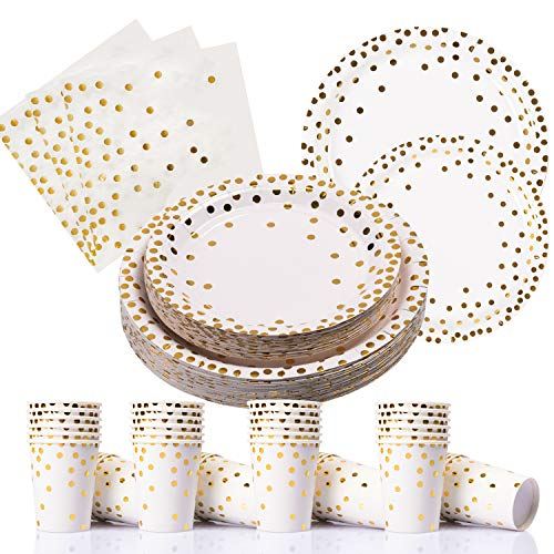200PCS Gold Dot Disposable Paper Plates,Cups and Napkins, Tableware Sets Include 50 Dinner Plates, 50 Dessert Plates, 50 9 oz Paper Cups, 50 Luncheon Napkins, for Baby Shower Birthday Wedding Party ()