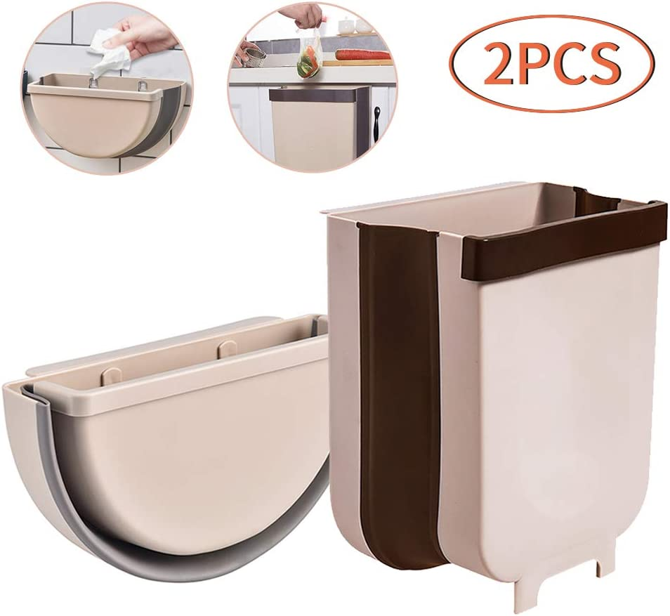 2 Piezas Cubo Basura Cocina Plegable para Organizar Recolecta Cáscaras de Frutas Vegetales,Bote de Basura Colgante para Cocina Coche Oficina Baño, 9L y 5L