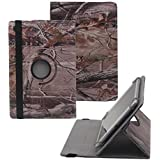 Tsmine Astro Tab A10 10 Inch Rotating Camo Case - Universal Protective Camouflage Oak Branch Printed Rotary Leather Case Stand Cover for Astro Tab A10 10 Inch Tablet, Branches