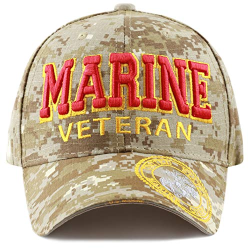 The Hat Depot 1100 Official Licensed Military 3D Embroidered Logo Veteran Cap (Marine-DTCM-VT)