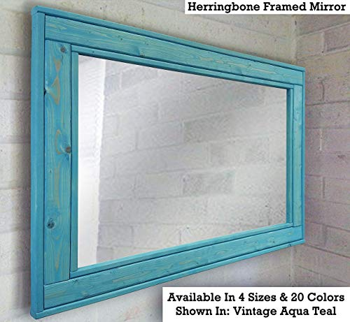 Herringbone Reclaimed Wood Framed Mirror, Available in 4 Sizes and 12 Colored - 24 Seaglass Mirrors Bathroom Inch