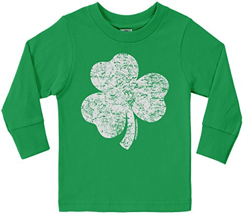 [Threadrock Little Boys' Distressed Shamrock Toddler Long Sleeve T-Shirt 3T Kelly Green] (St Patricks Day Shirts For Toddlers)