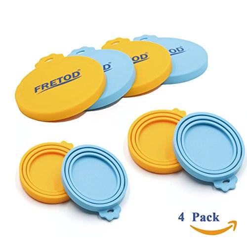 Pet Food Can Lids (Dog Cat Can Silicone Lids - 4 Pack for Pet Food Can - One Size fits All Standard Size Can Top)