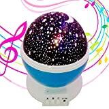 Lullaby Night Light,MINGKIDS Rechargeable Stars Moon projector Warm Night Lamp,Changing Color light,Rotation,12 songs,Gift for Babies Children,Nursery