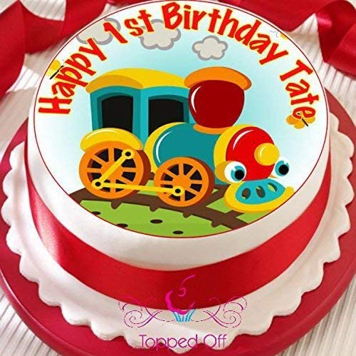 Amazing Cartoon Choo Choo Train 19 Cm Round Fondant Icing Edible Cake Personalised Birthday Cards Veneteletsinfo