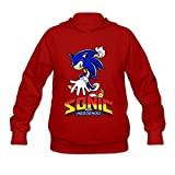AOPO Sonic The Hedgehog ACT Women's Long Sleeve Hooded Sweatshirt / Hoodie XX-Large Red