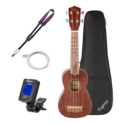 Ukulele-Tiamo 21 Inch Solid Spruce Wood Soprano for Beginner Gift with Straps + Bag+ Picks+Tuner+Nylon strings(Brown)