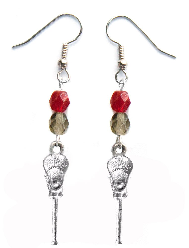 ''Lacrosse Stick & Ball'' Lacrosse Earrings (Team Colors Crimson & Grey)