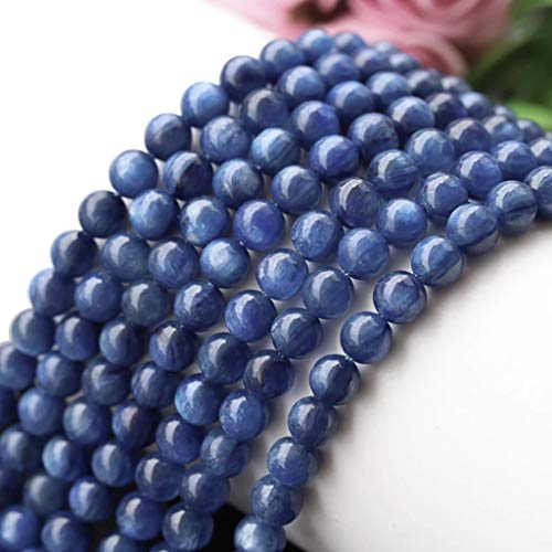 [ABCgems] Rare Brazilian Blue Kyanite (Exquisite Color- Beautiful Flash) 6mm Smooth Round Beads for Beading & Jewelry Making (Agate Blue Brazil)