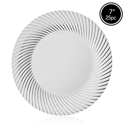 Elite Selection Pack Of 25 White Plates With Silver Swirl