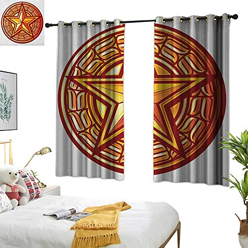 Turquoise Curtains Star,Heavenly Body Symbol with Warm Tones Star Seal with Circular Frame Illustration, Yellow and Ruby 72