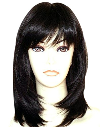 Monica Lewinsky Costume (Kalyss Women's Wig Long Straight Layers Black Synthetic Hair wigs for Women (Black 1B))