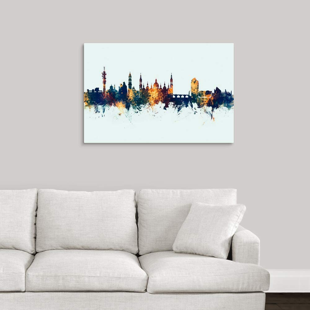 Amazon.com: Zaragoza Spain Skyline Canvas Wall Art Print, 30 ...