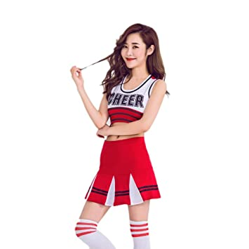 Large White School Girl Cheerleader Football Basketball Pom Pom Fancy Dress New