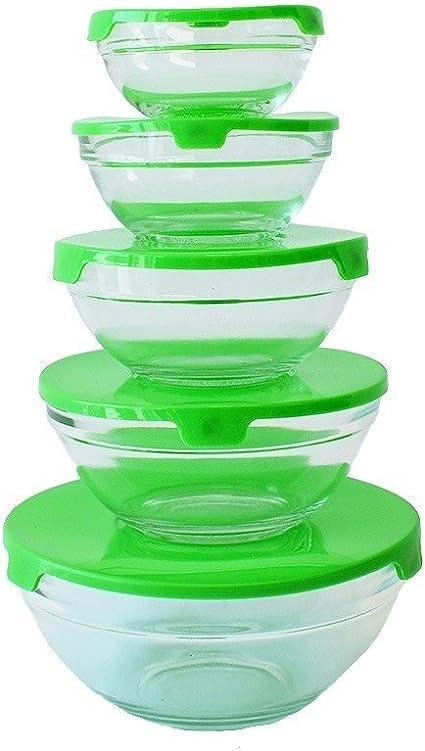 Juego de 5 recipientes de cristal para alimentos con tapas verde
