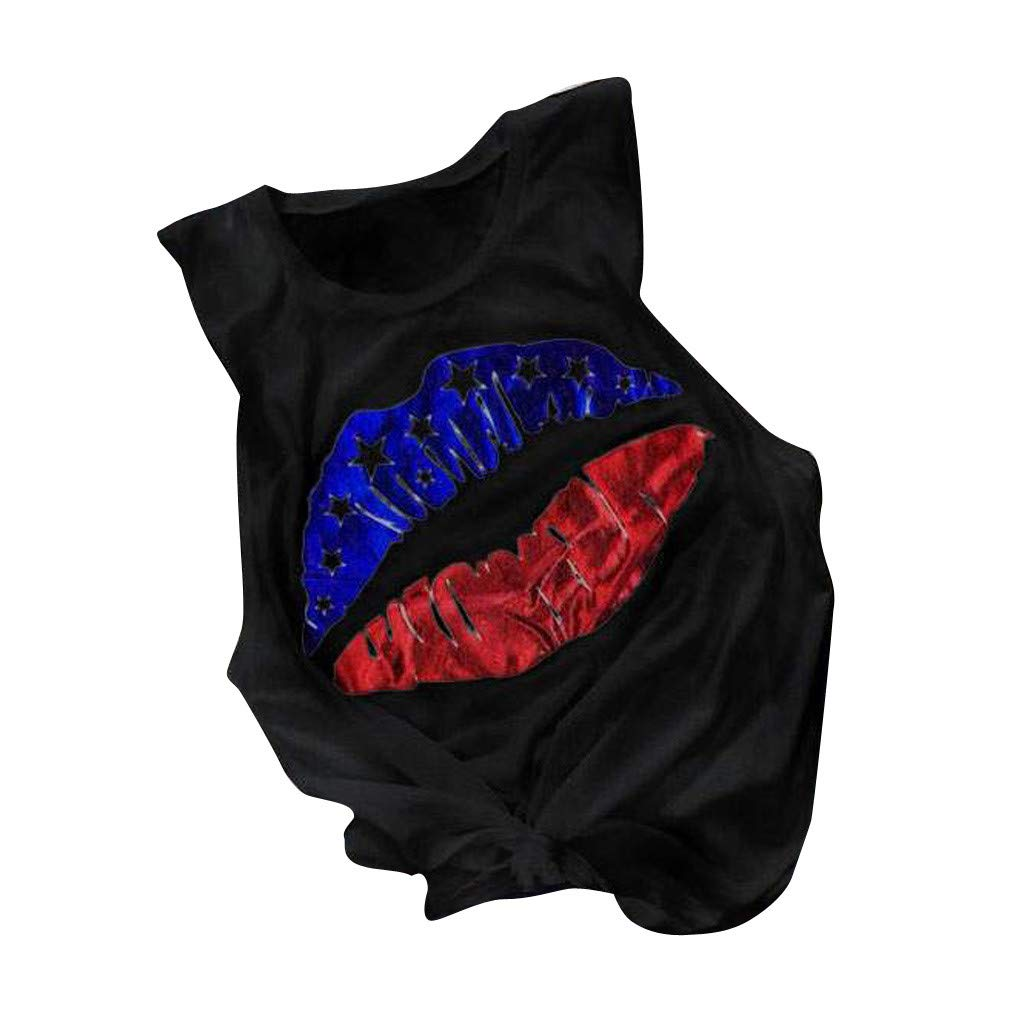 Sanyyanlsy Womens Mouth-Shaped Stars and Stripes Flag Tank Tops T-Shirt Sleeveless O-Neck Vest Blouse Solid Color Shirt
