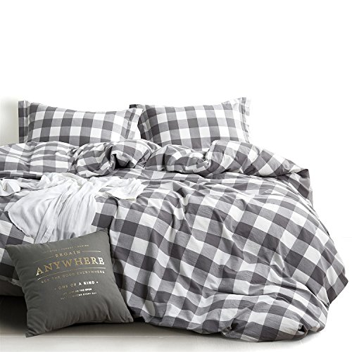 Wake In Cloud – Washed Cotton Duvet Cover Set, Buffalo Check Gingham Plaid Geometric Checker Pattern Printed in Gray Grey and White, 100% Cotton Bedding, with Zipper Closure (3pcs, Twin Size)