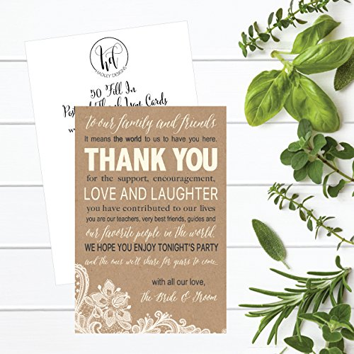 50 Wedding Kraft Thank You Place Cards, Rehearsal Dinner Thank You Table Sign, Menu Place Setting Card Notes, Placement Thank You Note Favors For Family & Guests Photo #6