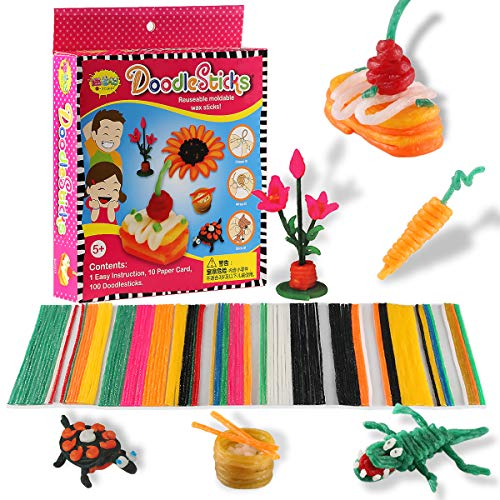 AONOKOY 10 Packs Primary DIY Handmade Non-Toxic and Safe Creative Fun Wax Sticks for Kids wih 10 Pcs Fun Template Cards ,Molding & Sculpting Sticks for Kids Over 3 Years Old