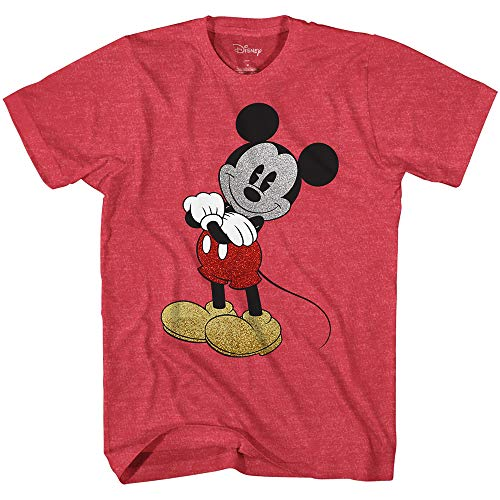 Red Apparel Adult Tee - Mickey Mouse Cracked Graphic Tee Classic Vintage Disneyland World Mens Adult Graphic Tee T-Shirt Apparel (Heather Red, XX-Large)