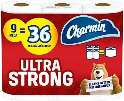 Charmin Ultra Strong Toilet Paper, 9 Mega Rolls = 36 Regular Rolls (Packaging May Vary)